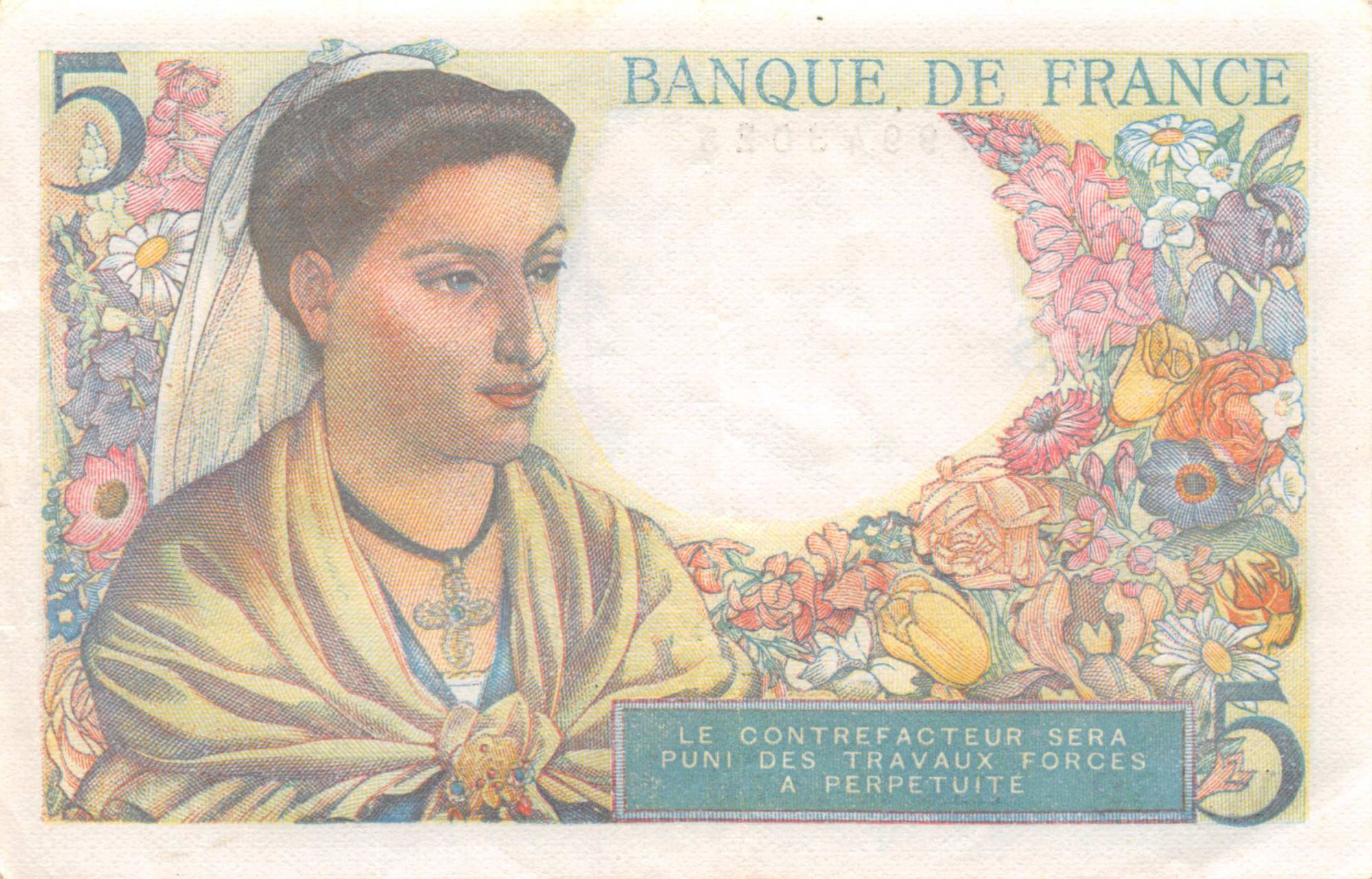 France 5 Francs Berger - 30-10-1947 Série W.152 - TTB+