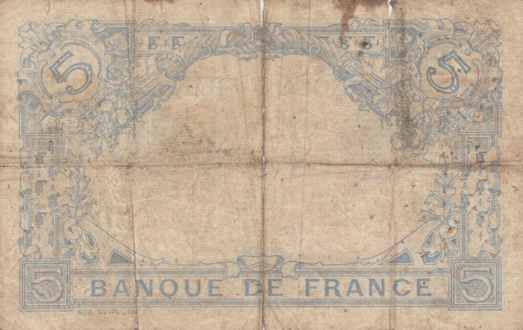 France 5 Francs Bleu  - 16-07-1912 Série S.644 - B+