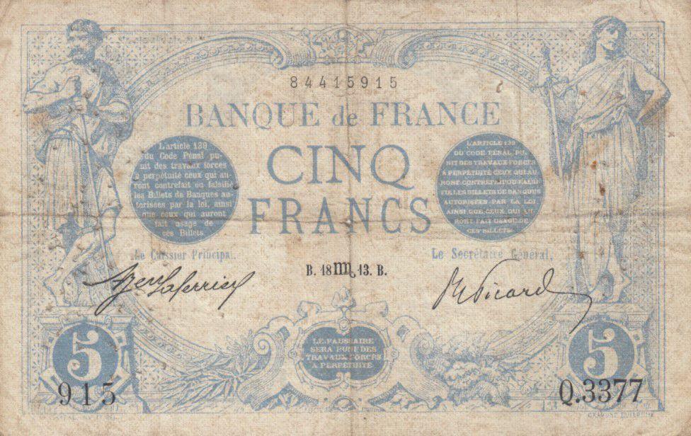 France 5 Francs Bleu  - 18-10-1913 Série Q.3377 - TB