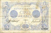 France 5 Francs Bleu - 09-09-1915 Série B.7689 - TB