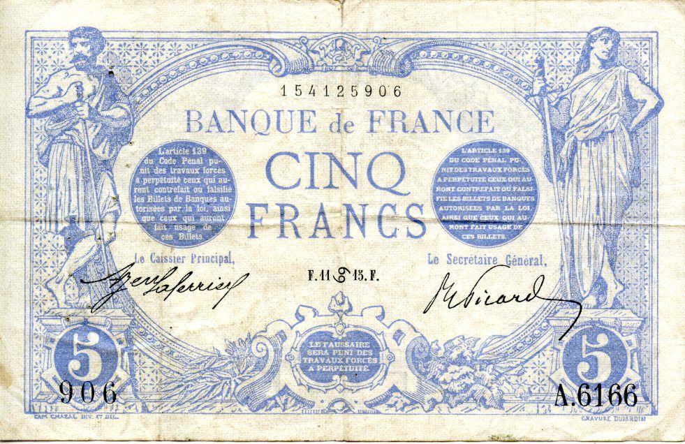 France 5 Francs Bleu - 11-06-1915 Série A.6166 - TTB