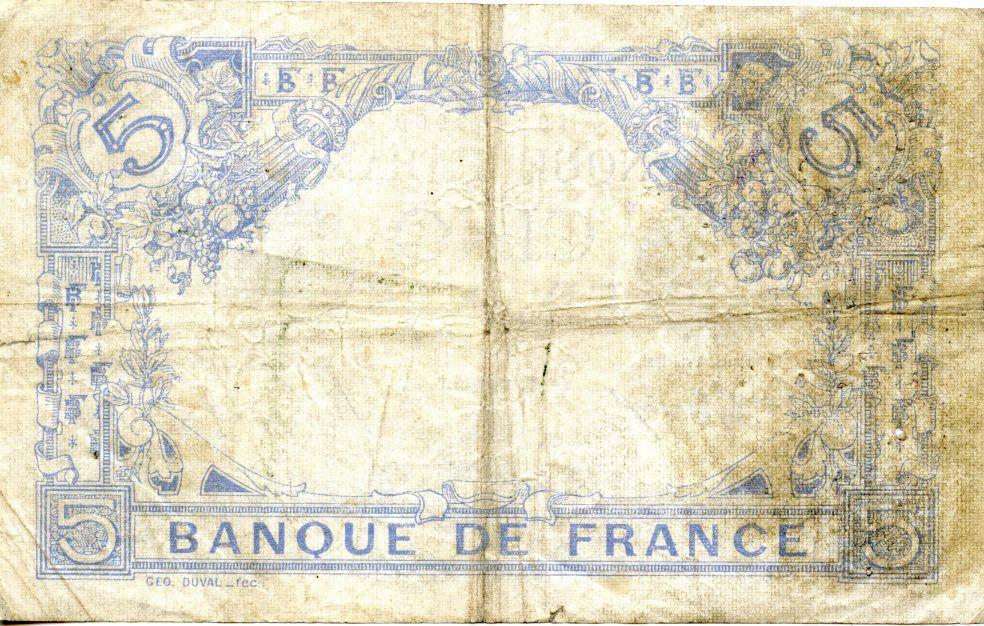France 5 Francs Bleu - 11-09-1915 Série D.7735 - TB