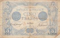 France 5 Francs Bleu - 12-07-1916 - Variété Lion inversé