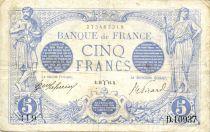 France 5 Francs Bleu - 20-03-1916 Série D.10937 - TTB