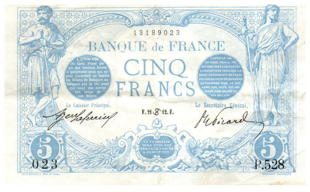 France 5 Francs Bleu - 21-06-1912 Série P.528 - TTB