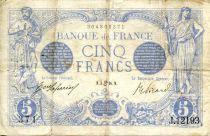 France 5 Francs Blue - 03-06-1916 Serial J.12193 - VF