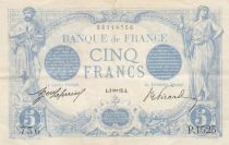 France 5 Francs Blue - 09-01-1913 - Serial P.1525 - VF to XF
