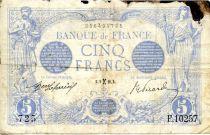 France 5 Francs Blue - 09-02-1916 Serial F.10257 - F
