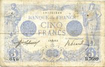 France 5 Francs Blue - 09-09-1915 Serial B.7689 - F
