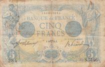 France 5 Francs Blue - 10-04-1915 Serial S.5146 - Good