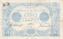 France 5 Francs Blue - 10-04-1915 Serial Z.5150 - VF