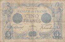France 5 Francs Blue - 11-04-1914 Serial Y.3747 - VG to F