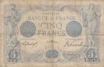 France 5 Francs Blue - 11-04-1914 Serial Y.3747 - VG to F