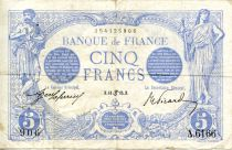 France 5 Francs Blue - 11-06-1915 Serial A.6166 - VF