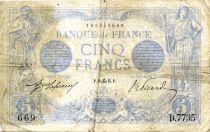 France 5 Francs Blue - 11-09-1915 Serial D.7735 - F