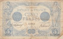 France 5 Francs Blue - 12-07-1916 - Variety Lion inverted
