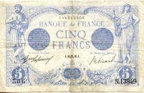 France 5 Francs Blue - 12-09-1916 Serial N.13849 - VF