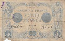 France 5 Francs Blue - 13-05-1912 Serial Y.337-  VG