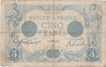 France 5 Francs Blue - 13-10-1913 Serial Q.3269 - F