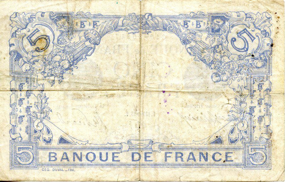 France 5 Francs Blue - 13-11-1915 Serial A.8785 -V F