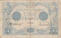 France 5 Francs Blue - 15-10-1913 Serial W.3318 - F