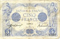 France 5 Francs Blue - 16-04-1915 Serial Q.5244 - F