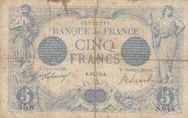 France 5 Francs Blue - 16-07-1912 Serial S.644-  VG