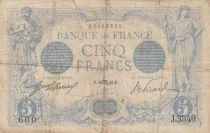 France 5 Francs Blue - 16-10-1913 Serial J.3340 - VG to F