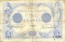 France 5 Francs Blue - 17-09-1915 Serial U.7838 - F