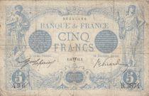 France 5 Francs Blue - 18-04-1914 Serial R.3874 - VG to F
