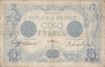 France 5 Francs Blue - 18-04-1914 Serial R.3874 - VG to F
