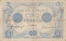 France 5 Francs Blue - 18-10-1913 Serial Q.3377 - F