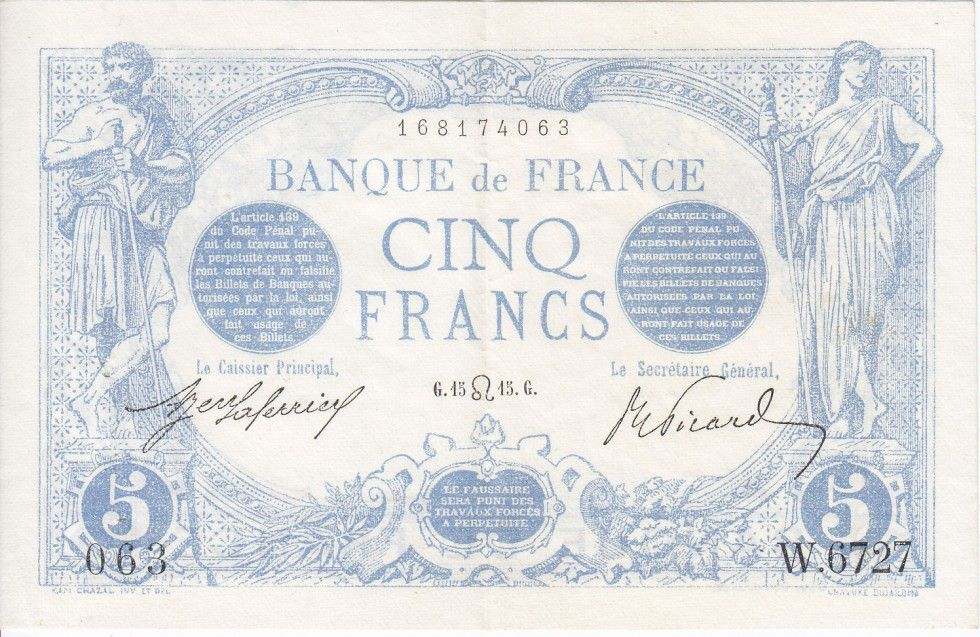 France 5 Francs Blue - 1915