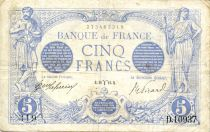 France 5 Francs Blue - 20-03-1916 Serial D.10937 - VF