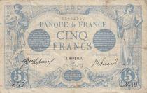 France 5 Francs Blue - 20-10-1913 Serial C.3419 - F