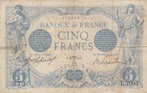 France 5 Francs Blue - 21-04-1914 Serial L.3903 - VG