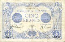 France 5 Francs Blue - 24-02-1916 Serial H.10505 - VF