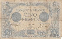 France 5 Francs Blue - 25-03-1914 Serial M.4887 - VG to F