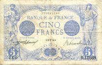 France 5 Francs Blue - 25-03-1916 Serial R.11038 - VF