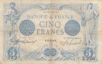 France 5 Francs Blue - 25-09-1912 Serial Z.1004 -  VF