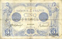 France 5 Francs Blue - 27-01-1916 Serial D.10024 - F
