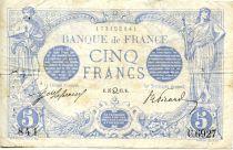 France 5 Francs Blue - 27-07-1915 Serial C.6927 - VF