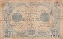 France 5 Francs Blue - 27-12-1915 Serial U.9514 - Good