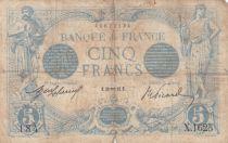 France 5 Francs Blue - 28-01-1913 Serial X.1625 -  VG to F