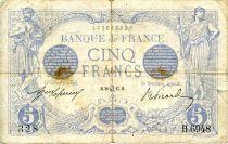 France 5 Francs Blue - 28-07-1915 Serial H.6948 - VG to F