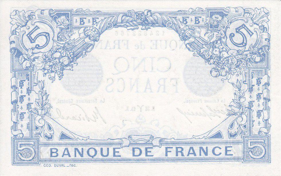 France 5 Francs Blue - 31-03-1915 Serial Y.4993