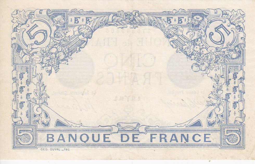 France 5 Francs Blue - March 1916