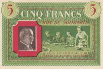 France 5 Francs Bon de Solidarité - WWII - 1941-1942