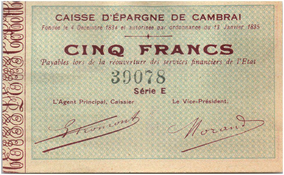 France 5 Francs Cambrai Caisse d´Epargne