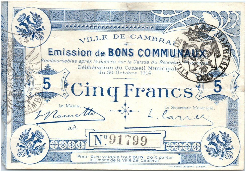 France 5 Francs Cambrai City - 1914